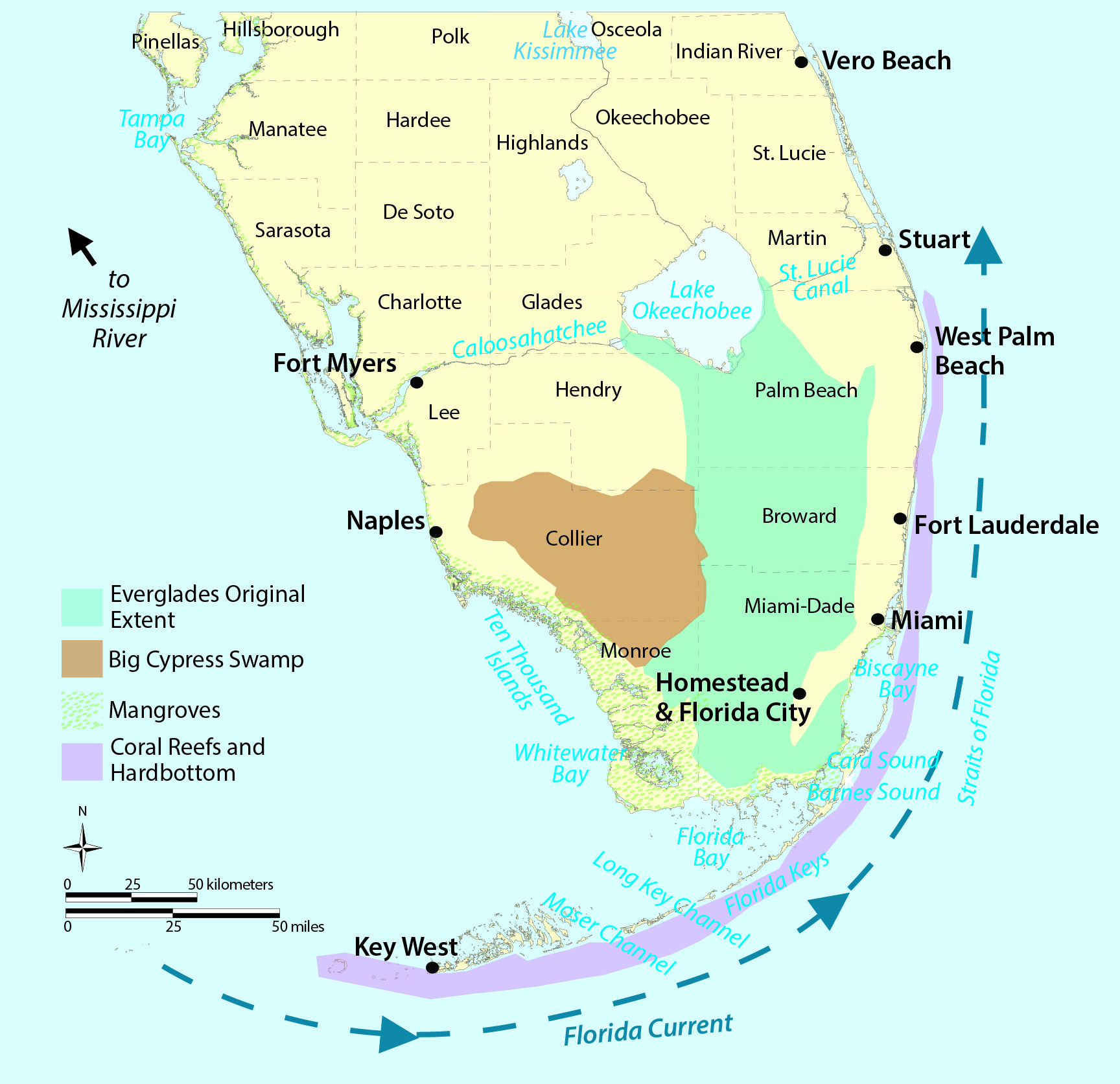 Map Of Southern Florida.South Florida How Are You Connected Welcome To Noaa Research