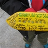 Students at Princess Elizabeth School in Windsor, Ontario, signed the boat before sending it back on its journey through the Great Lakes.