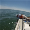 Collecting water samples on Lake Erie