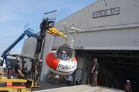 A NOAA  buoy outfitted to study ocean acidification arrives at the Exploratorium.
