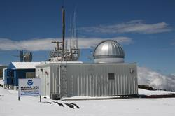 Photo of NOAA's Mauna Loa Observatory in snow