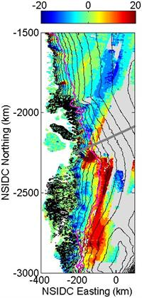 Graph of ice sheet velocity, between 2005-2007