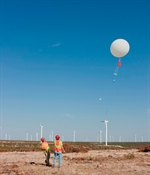 A radiosonde launch on the wind farm to observe how atmospheric flow changes in both space and time.