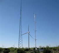 From left to right, the Duke tower, the wind turbine, and ARL's research tower.