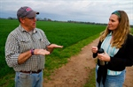Alabama grower Myron Johnson talking with Wendy-Lin Bartels, an anthropologist with the Southeast Climate Consortium.